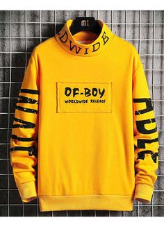 Men's long sleeve pull over of boy letter print design, high neck. Source by ShoeEver Sweatshirts Online, Mens Sweatshirts, Printed Sweatshirts, Trendy Hoodies, Hoodie Outfit, Boys Shirts, Shirt Designs, Print Design, Diy Design