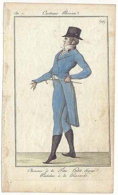 Journal des Dames et des Modes, 1798. I love a man in a blue suit, big black hat, and tiny little elf shoes!