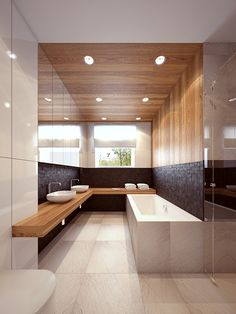 The bathroom has a center point of action which is most practical for circulation.