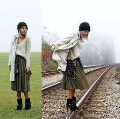 Xander Vintage Wool Coat, Amika Flannel Shirt, Le Le Style Olive Tulle Skirt, Just Fab Gold Studded Boots