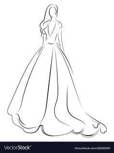 Girl in a dress linear outlines of a female Vector Image Source by seetuu dress drawing Dress Design Drawing, Dress Design Sketches, Dress Drawing, Fashion Design Drawings, Wedding Dress Sketches, Dress Painting, Dress Illustration, Fashion Illustration Sketches, Fashion Sketches