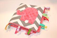Grey pink CHEVRON elephant travel blanket - girls modern taggie lovey sensory ribbon minky. $24.00, via Etsy.