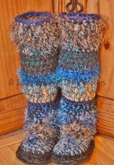Pattern for Yarn Sole Slipper Boots by creativedayconcepts on Etsy, $6.50