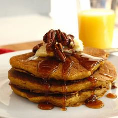 Pumpkin Spice Pancakes | WHAT the HECK do I eat NOW Easy Vegan Dinner, Vegan Dinner Recipes, Vegan Breakfast Recipes, Dairy Free Recipes, Vegan Desserts, Lunch Recipes, Pumpkin Spice Pancakes, Vegan Butter, Vegan Dishes