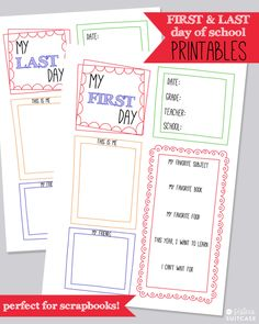 First Day of School Memory Page Printable