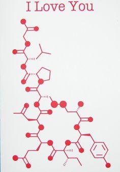 Oxytocin - I Love You - Chemistry Nerd Greeting Card - Red. $4.50, via Etsy.