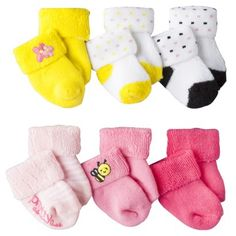 Just One You™Made by Carter's® Newborn Girls' 6 Pack Terry Cuff Bee Socks - Assorted 0-3 M