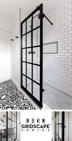 Gridscape Fixed Shower Screen Panel in Black with Clear Glass Coastal Gridscape Splash Panel Glass Divider with Black Factory Window Frame Shower Remodel, Bathroom Renos, Home, Bathroom Makeover, Shower Screen, Bathrooms Remodel, Bathroom Design, Bathroom Decor, Bathroom Renovation