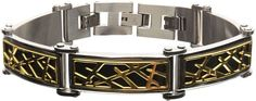 FINE JEWELRY Mens Tri-Tone Stainless Steel Crown of Thorns Bracelet