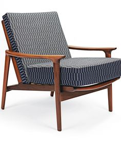 Among Eleanor Pritchard's latest products is an upholstery line, including the Rowridge pattern, shown on a circa-1960s chair by Liverpool company Guy Rogers. Photo by Christoffer Rudquist.