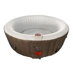 Find deep relaxation in your own backyard oasis with ALEKO's round inflatable hot tub. This spa provides all of the mental and physical health benefits of a traditional hot tub with a more convenient Round Hot Tub, Spa Store, Sport Pool, Concrete Resurfacing, Drinks Tray, Granite Stone, Deep Relaxation, Sit Back And Relax, Cover
