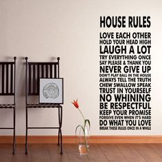 House Rules Vinyl Wall Decal Sticker We Do Art Vinyl by HappyWallz, $39.99