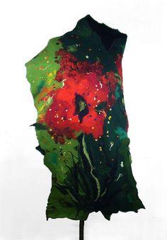 Felted Scarf  nuno felt Scarf  Art Scarf Green Ruby Burgundy Olive Wrap Scarve Felt Nunofelt Nuno Silk Silkyfelted Eco shawl Boho Fiber Art. $159.00, via Etsy.