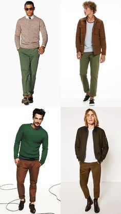 Men's Green and Brown Colour Combination Outfit Lookbook