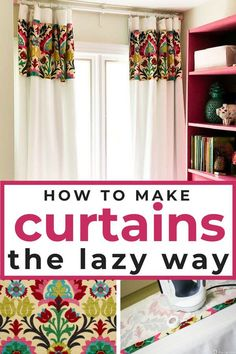 Wondering how to make curtains without sewing? In this post I walk you through how to make curtains the lazy way! These DIY curtains are no sew and are cheap compared to the cost of custom curtains! Perfect project for beginners. Wondering how to mak Plain Curtains, No Sew Curtains, Cheap Curtains, How To Make Curtains, Rod Pocket Curtains, Bedroom Curtains, Diy Bedroom, Colorful Curtains, Curtain Panels