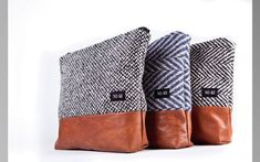 Light gray  recycle wool clutch    pouch  purse by System63