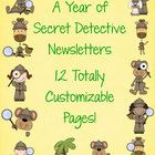 These detective themed newsletter templates are great for your mystery themed classroom. They feature kids, monkeys, and giraffes dressed up as det...