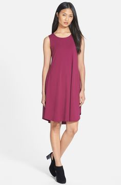Eileen Fisher Jersey Jewel Neck Flare Dress (Regular & Petite)