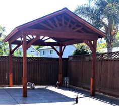 In 3 days, 3 people used 3 ladders to build this Gazebo with a gable roof.
