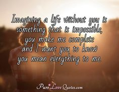 Imagining a life without you is something that is impossible, you make me complete and I want you to know you mean everything to me. #purelovequotes
