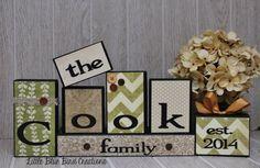 Personalized Family Name wood blocks  wood by littlebluebirdcreate