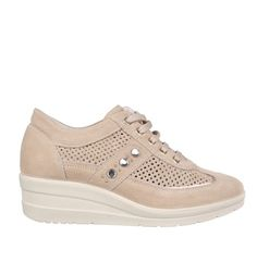 SNEAKERS SCAMOSCIATE CON STRASS BEIGE