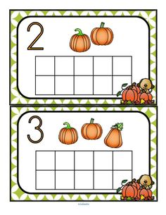 Fill the pumpkins themed with manipulatives such as pom poms, counters or playdough. Recognize numbers and count sets Fall Preschool, Preschool Themes, Kindergarten Activities, Halloween Activities, Autumn Activities, Everything Preschool, Fall Crafts For Kids, Math For Kids, Autumn Theme