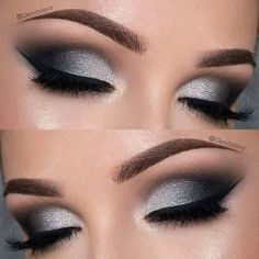 21 Insanely Beautiful Makeup Ideas for Prom: #4. DRAMATIC BLACK & SILVER SMOKEY EYE Prom Eye Makeup, Dramatic Eye Makeup, Natural Eye Makeup, Eye Makeup Tips, Wedding Makeup, Beauty Makeup, Makeup Ideas, Beauty Tips, Makeup Tutorials