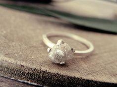 White grey diamond ring raw diamond ring promise ring