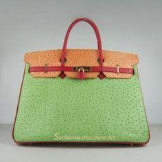 Sacs Hermès Pas Cher Birkin 40cm Ostrich Veins Cuir Sac Rouge/Orange/Ver