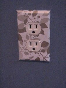 Cover wall outlets with scrapbook paper. love this idea! Cover anything with scrapbook paper and modge podge