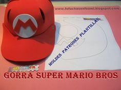 Mis Fofuchas 2013 Artfoamicol  MOLDES PARA GORRAS EN FOAMY DE SUPER MARIO  BROS Gorra De 4c64c217a0a