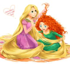 Princesses have to help each other with their hair :)