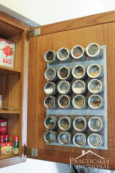 Kitchen Tour: Hang your spices on a magnetic spice rack inside a cabinet door