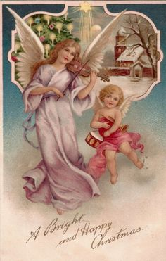 A Bright and Happy Christmas ~ angels Victorian Christmas, Vintage Christmas Cards, Retro Christmas, Christmas Pictures, Christmas Angels, Christmas Art, Christmas Greetings, Outdoor Christmas, Christmas Decorations