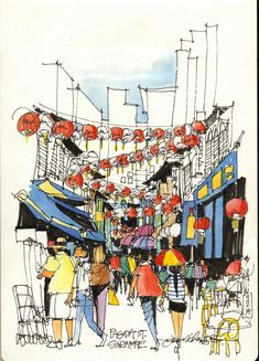 Urban Sketchers: James Richards. A quick 10-minute line sketch done while standing in a Chinatown Street. Singapore.