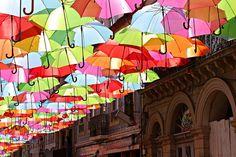 Colorful Umbrellas Installation . Portugal