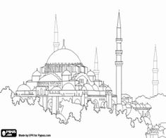 Monuments And Other Sights In Europe Coloring Pages Printable Games 2 Hagia Sophia Turkish Art Islamic Art