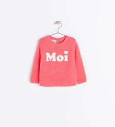 KNIT SWEATER WITH TEXT from Zara