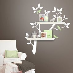 Children Wall Decal - Tree Branch Decal with Birds for Shelving - Shelf Organizer - Baby Nursery Wall Decor - Tree Wall Decals. $54.00, via Etsy.