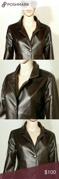 Emporio Armani Collezioni Brown Leather Jacket Size M MEDIUM In Very good condition!! Very adorable!! Fast shipping!! Emporio Armani Jackets & Coats