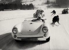 Snow And Tow Porsches.