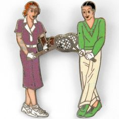 Deco 1938 Fired Enamel Tennis Playing Couple Pin