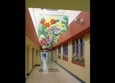 Translucent hallway hanging banner back lit by skylights. Perfect for elementary schools, day care centers, etc.