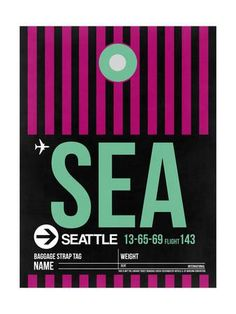 SEA Seattle Luggage Tag 2 Art Print by NaxArt at Art.com