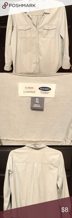 Button-up Chambray Top Light chambray denim top. Worn twice (one of which resulted in the small orange pen marks as pictured.) Small spots are unnoticeable when top two buttons are undone. Perfect alone or on top of a tank/vneck! Old Navy Tops Button Down Shirts