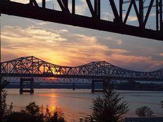 Louisville Bridges at Sunset, Louisville, Kentucky  So Excited to see my bridges!
