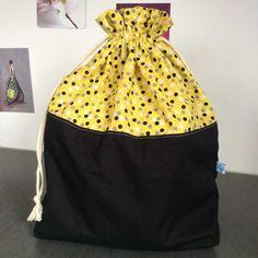 Pochon format XL en coton ou sac à projet tricot ou par AglaeLaser