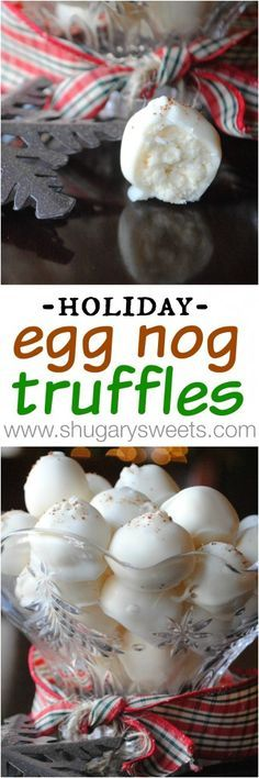 Eggnog Truffles, smooth eggnog and white chocolate centers, would be perfect as a Christmas/hostess gift!