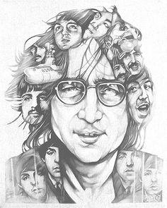 16 x 20 Graphite/Acrylic on Canvas. Beatles Art, The Beatles, Imagine John Lennon, Perspective Art, Punk, The Fab Four, Dope Art, Art Drawings, Drawing Portraits